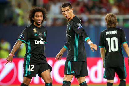 Real Madrid Cristiano Ronaldo (R) and Marcelo